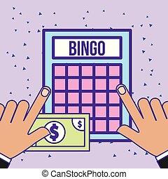 hands with bingo game and bill money casino