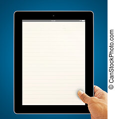 Hands with blank lined page tablet computer