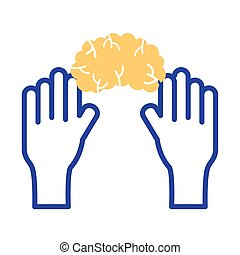 hands with brain mental health line style icon