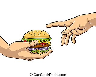Hands with burger pop art vector illustration