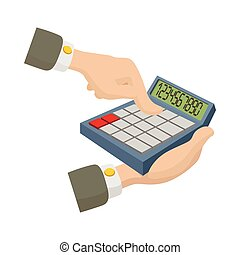 Hands with calculator icon, cartoon style