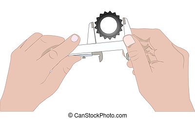 Hands with caliper
