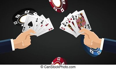 Hands with casino cards HD animation