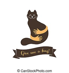 Hands with cat silhouette logo. Pets care vector logo template. Cat logo vector concept. Pet shop logo vector illustration