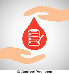 hands with checklist report care icon
