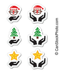 Hands with christmas icons - santa