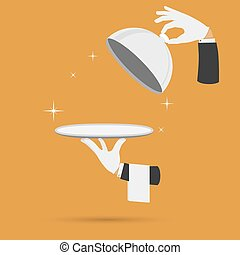 Hands with cloche lid cover and towel vector.