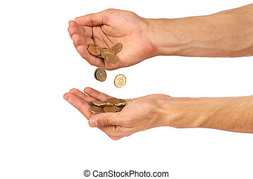 Hands with coins isolated on white background