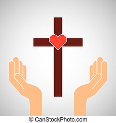 hands with cross and sacred heart icon
