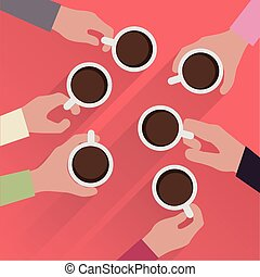 hands with cup of coffee