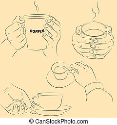 Hands with cups
