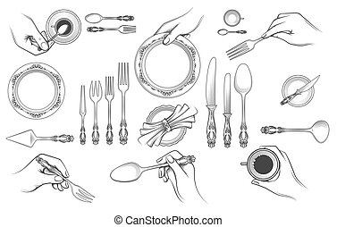 Hands with cutlery