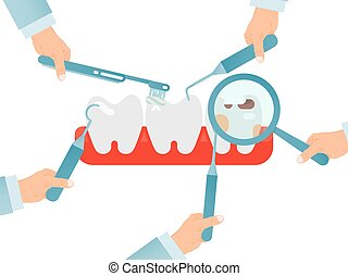 Hands with dentist instruments checking teeths isolated on ...