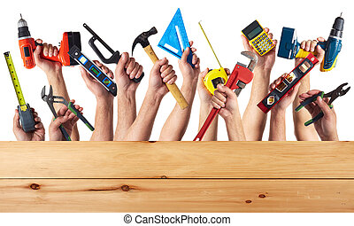 Hands with DIY tools. - DIY tools set collage. Isolated on ...