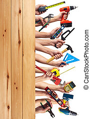 Hands with DIY tools. - DIY tools set collage. Isolated on...