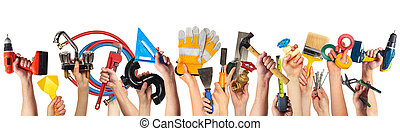 Hands with DIY tools. - Set of construction tools. House...