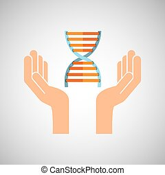 hands with DNA structure medical icon