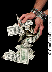 Hands with dollars in chain