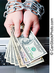 Hands with dollars in chain on a white background