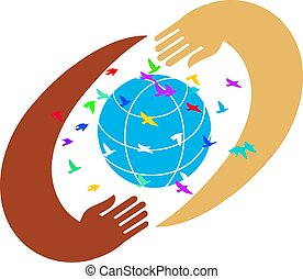 Hands with earth, people of the world holding the globe flat vector sticker, poster
