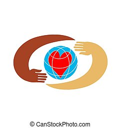 Hands with earth, people of world holding globe