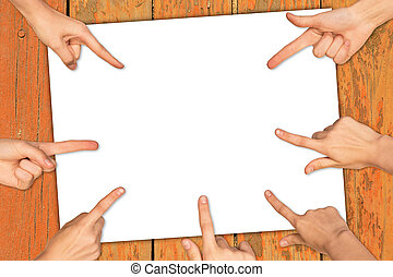 Hands with empty paper