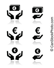 Hands with euro banknote, coin icon - Hands holding money -...