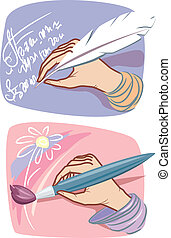 Hands with feather and brush