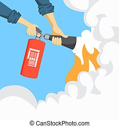 Hands with fire extinguisher.