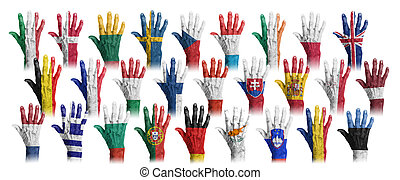 Hands with flag painting of the EU-coutries