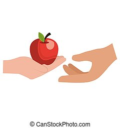 hands with fresh apple