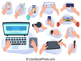 Hands with gadgets and electronic devices, modern computer technology smartphone, tablet, laptop, vector illustration