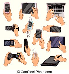 Hands with gadgets vector hand holding phone or camera illustration set of character working on digital devices laptop or tablet and playing in gamepad isolated on white background