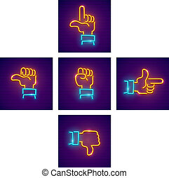 Hands with gestures of directions as arrows