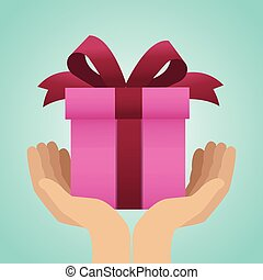 Hands with gift box