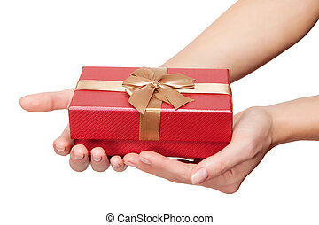 Hands with gift on white background