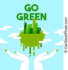 Hands with green city planet for environment care