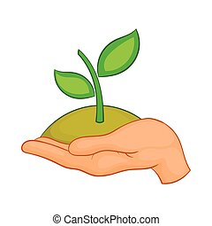 Hands with green sprout icon, cartoon style - Hands with ...