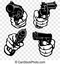 Hands with Guns - vector set. Isolated. Objects are ...