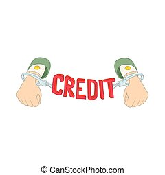 Hands with handcuffs and credit lettering icon