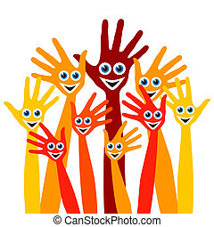 Hands with happy faces design. - Large group of hands with...