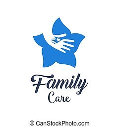 Hands with heart in flower logo design. Symbol of family care. Logo sign health care