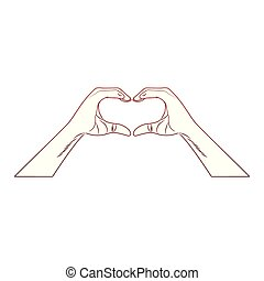 Hands with heart sign pop art red lines