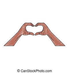 Hands with heart sign pop art scribble