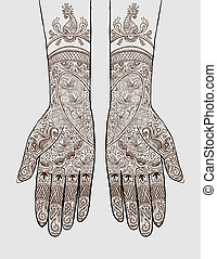 Hands with henna tattoo - Vector illustration of hands with...