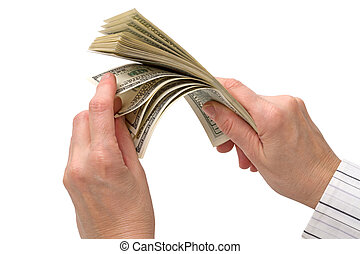 Hands with hundred dollar bills