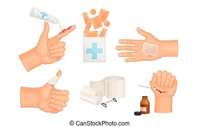 Hands with Injured Skin and Procedures of Bandaging and ...