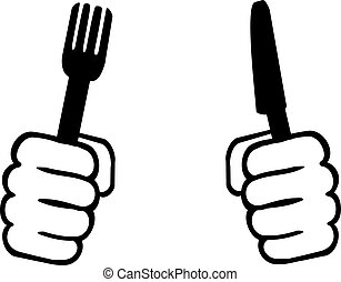 Hands with knife and fork