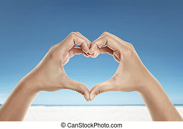 Hands with love shape