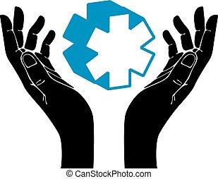 Hands with medical symbol vector emblem.